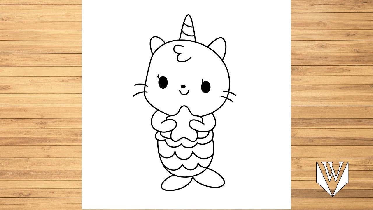 Как нарисовать каваи кошка единорог Русалочка шаг за шагом ...