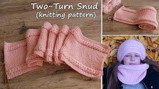 Детский снуд «Маршмеллоу» в два обора спицами.Таблица размеров снуда |Two-Turn Snud knitting pattern