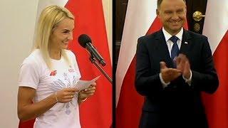 Justyna Święty rozśmieszyła Prezydenta Andrzeja Dudę - medalistka rzuca wyzwanie prezydentowi ;-)