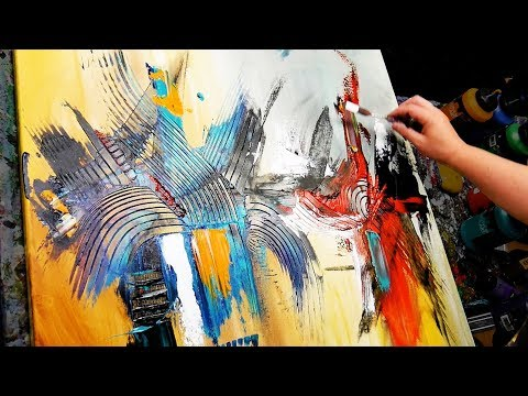 Abstract Painting Demonstration in Acrylics - Brush, knife and Palette Knife - Walk