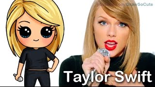 How to Draw Chibi Taylor Swift Cute step by step Shake It Off Music Video