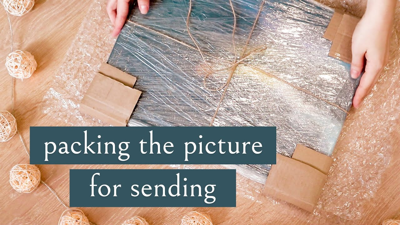 How to easily and securely pack a painting for sending / Visualization to the interior for free