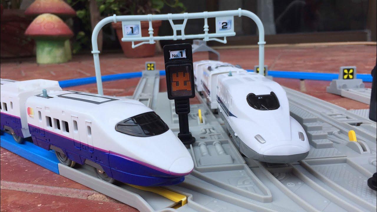 Robot Toys For Kids >> Toy Trains for kids Tomy Takara Plarail Japanese Shinkansen Bullet Trains - YouTube