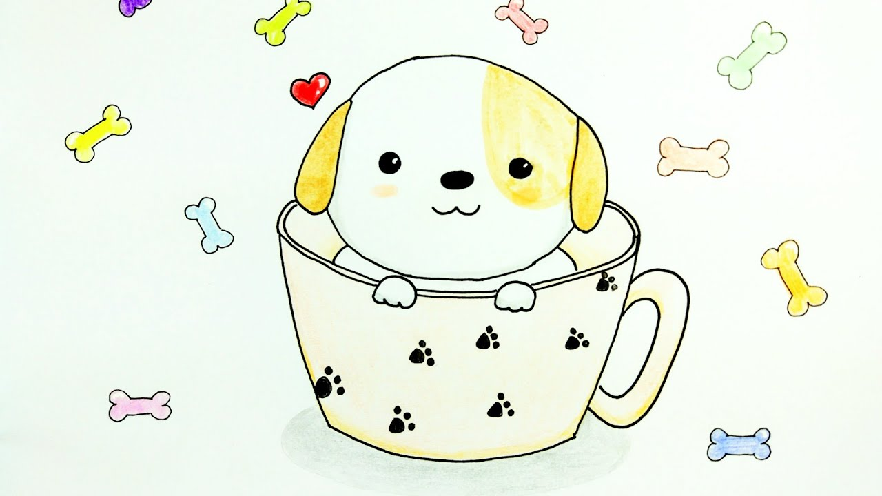 puppy drawing. HOW TO DRAW PUPPY  Cute Puppy in a Cup Easy Drawing Tutorial For Beginner Step by