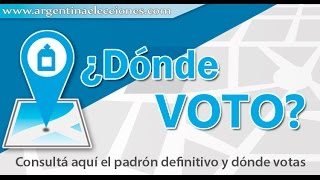 ARGENTINA: ¿Dónde voto 2015? - Consulta tu mesa y lugar de votación(SOLO CON DNI)