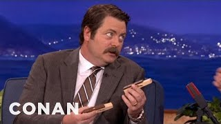nick offerman is a woodworking whiz conan on tbs