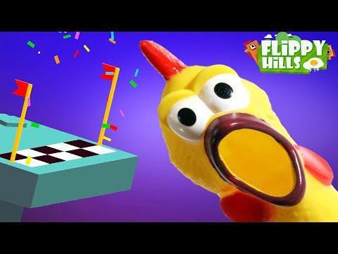 КУРИНЫЙ ПАРКУР! Мультяшная андроид игра для детей про прыжки БЕЗУМНОЙ КУРИЦЫ Flippy Hills