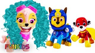 Learning Video for Kids Skye Plays Dress Up With Baby Paw Patrol Pups