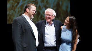 Senator Bernie Sanders, rising democratic star Alexandria Ocasio-Cortez and James Thompson, From YouTubeVideos