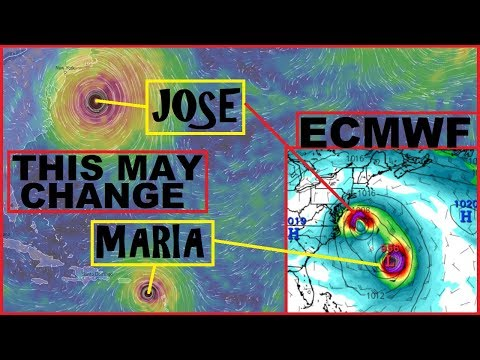 """Hurricane JOSE and MARIA 'The Perfect Storm""""? GFS and EURO say its possible."""