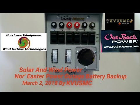 Solar And Wind Power Nor' Easter Power Outage Battery Back Up March 2, 2018 By KVUSMC