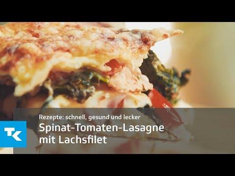 Spinat-Tomaten-Lasagne mit Lachsfilet