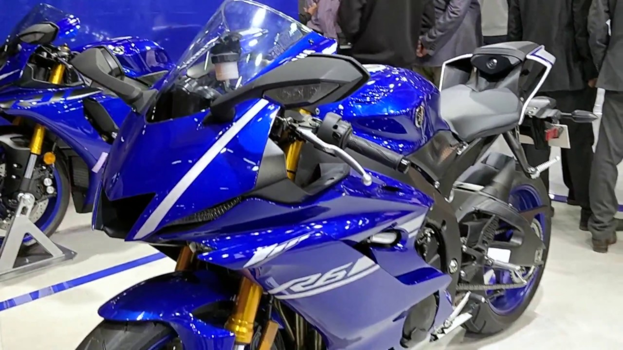 yamaha yzf-r6 on display in india at auto expo 2018 - youtube