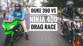 KTM Duke 390 Vs Kawasaki Ninja 400 Drag Race