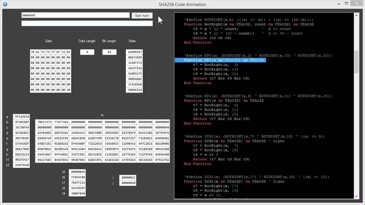 SHA256 Code Animation