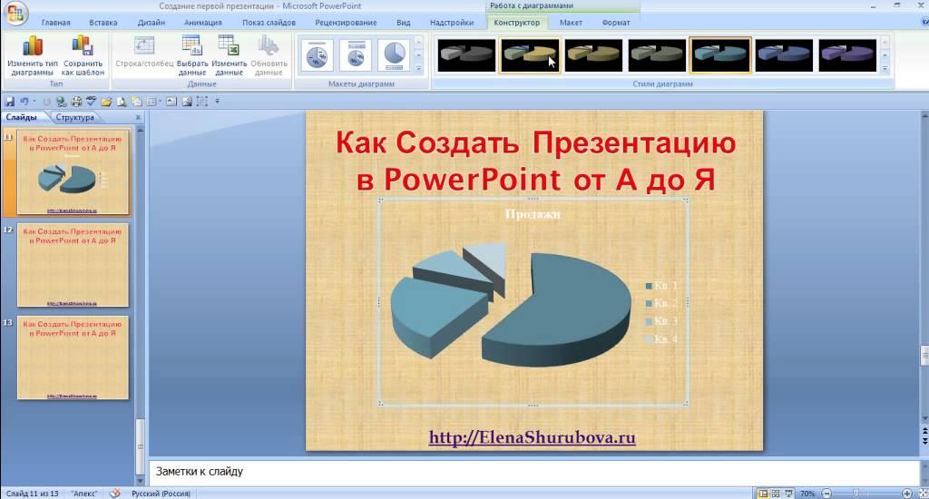 Как в презентации сделать диаграмму