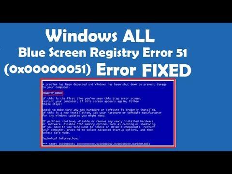 How To Fix Blue Screen Registry Error 51 Youtube
