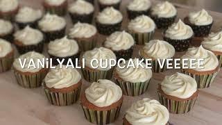 Vanilyalı Kapkek üzerine peynirli beyaz çikolatalı krema/ vanilla cupcake cheese frosting Video