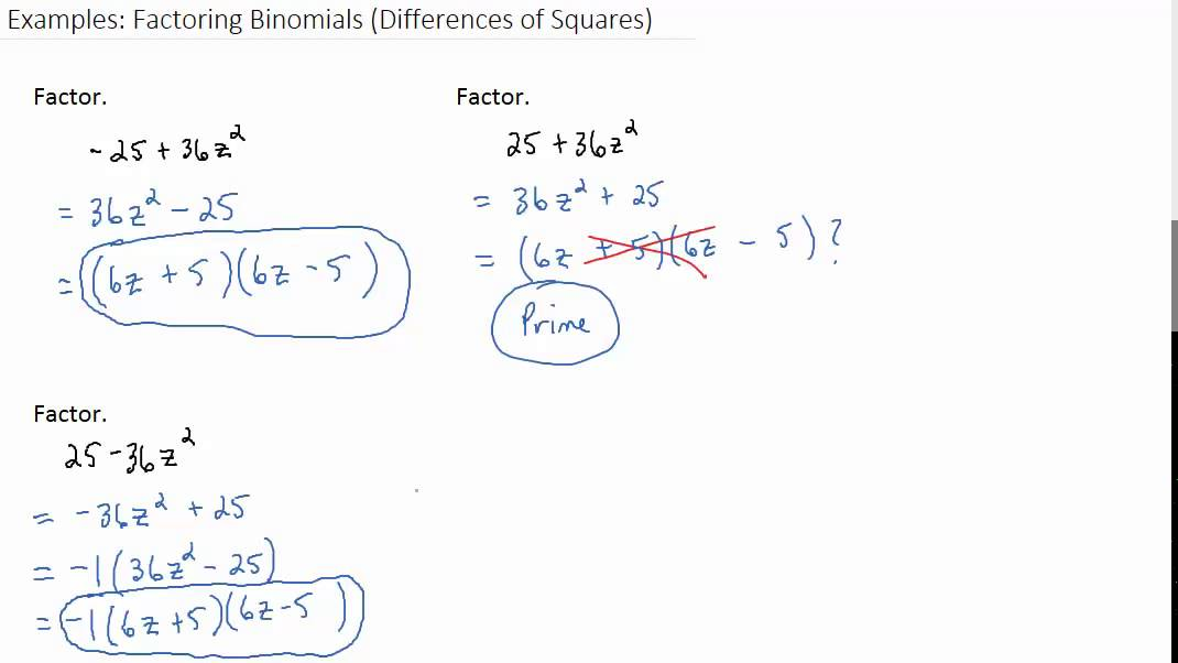 Examples: Factoring Binomials (Differences of Squares) - YouTube