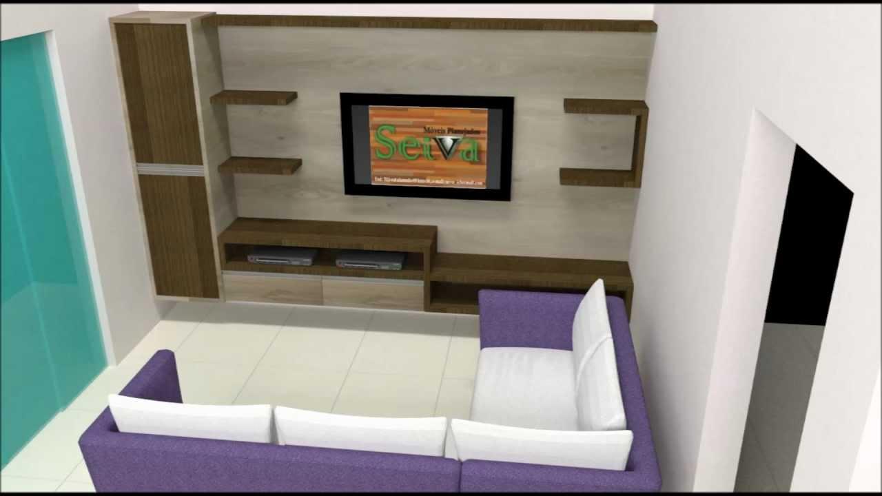 Sala Pequena De Home Theater ~ moveis planejados painel de tv  YouTube