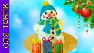 НОВОГОДНИЙ ТОРТ «Снеговик» 3 д торт Новогодние торты Как сделать торт Снеговик /// Olya Tortik