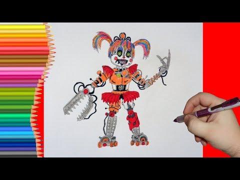 How to draw Scrap Baby, FNaF, Как нарисовать Скрап Бэйби, ФНаФ