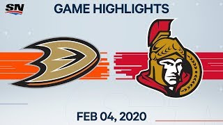 NHL Highlights | Anaheim Ducks vs. Ottawa Senators - Feb. 4, 2020