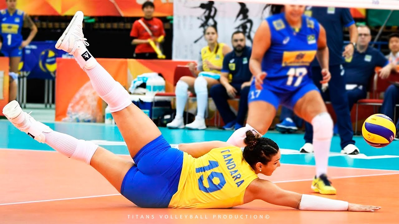 Unbelievable Volleyball Actions by Tandara Caixeta - BEST Volleyball DIGS SAVES SPIKES | VNL 2018