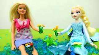 Мультики про Барби: прогулка с Эльзой и магия льда!