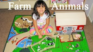 Educational Farm Animals Learn Names and Sounds with Schleich Farm Playmat and Barn