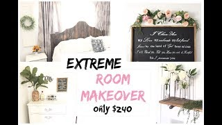 EXTREME BEDROOM MAKEOVER   Full Room TRANSFORMATION $240   Momma From Scratch