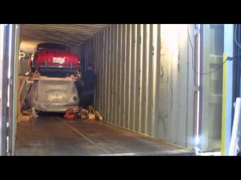 Antwerp Zeebrugge Belgium Car Shipping Direct Express inc Loading 45 HC container.-B