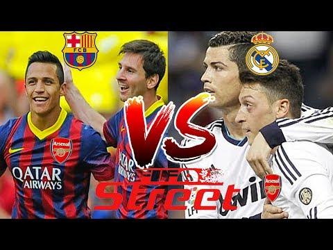 Messi & Sanchez vs Ronaldo & Ozil (Barca vs Real) (Fifa street)