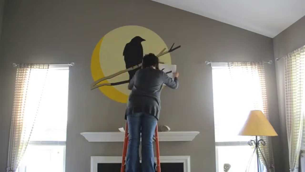 Halloween Moon Over Mantel VERY Large Scale Decal Made With A - How to make vinyl wall decals with silhouette cameo