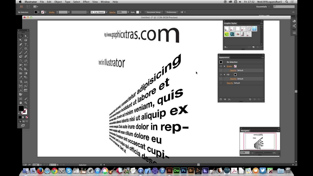 Illustrator Cc 3d Perspective Text And Graphic Styles Tutorial Youtube