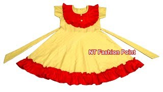 Kids Beautiful A-Line Frocks Designs | Baby Girls Cotton Smocked Dresses | Cutting and Stitching