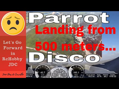 Drone Parrot Disco (Double Vision...) - Landing from 500m with strong front wind, Angola