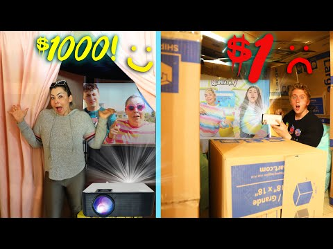 $1 VS $1000 DIY MOVIE THEATER!