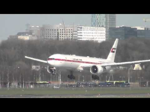 United Arab Emirates Government 777 Landing @ Schiphol Airport 24-03-2014