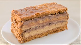 Caramel banana chocolate millefeuille recipe, eng sub ( ingredient...
