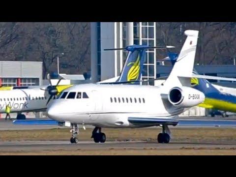 Business jet Falcon 2000 - Takeoff in Berne HD