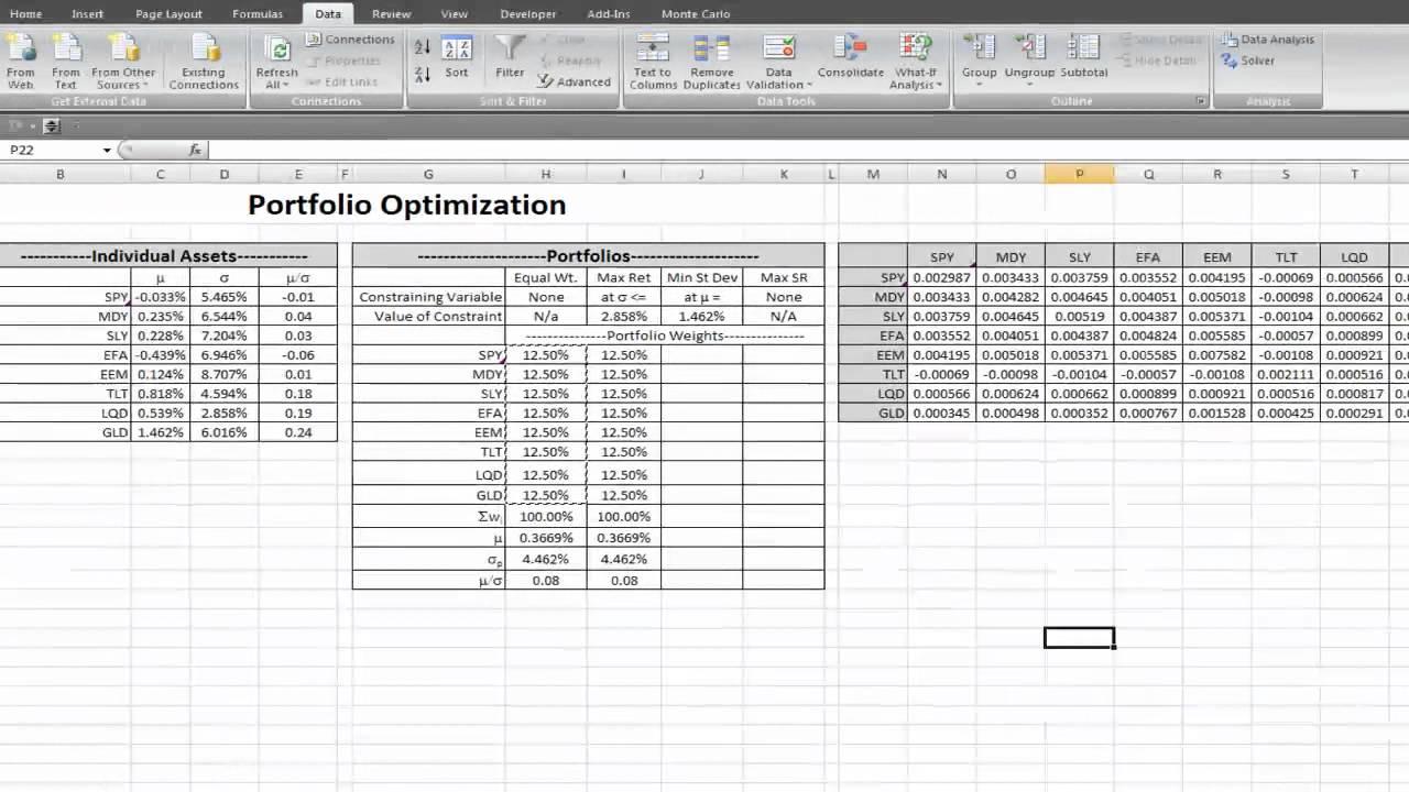 Portfolio Optimization In Excel4 Youtube
