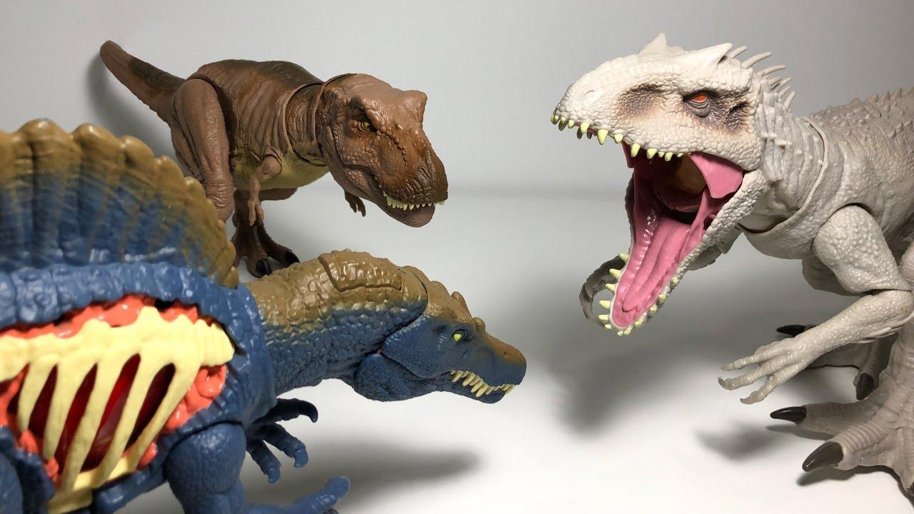 Unexpected Alliance! T-Rex, Spinosaurus vs Indominus Rex - Jurassic World Battles