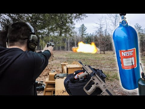 Shooting the BIGGEST Nitrous bottle with my .50cal Desert Eagle!