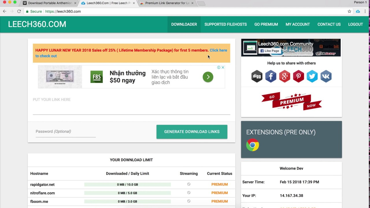 How to download premium link using Leech360 Extension by HuuMinh  Technologies