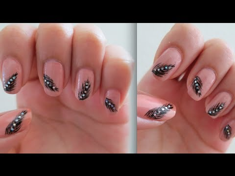 Pretty Amp Elegant Feather Nail Art Tutorial Youtube