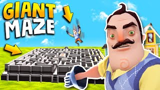 GIANT MAZE IN HELLO NEIGHBOR!!! (Can he solve it?) | Hello Neighbor Gameplay (Mods)