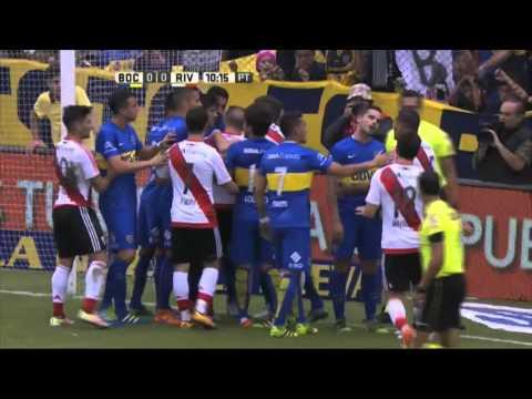 Insólita expulsión de Pérez. Boca 0 - River 0. Fecha 12. Primera División 2016.