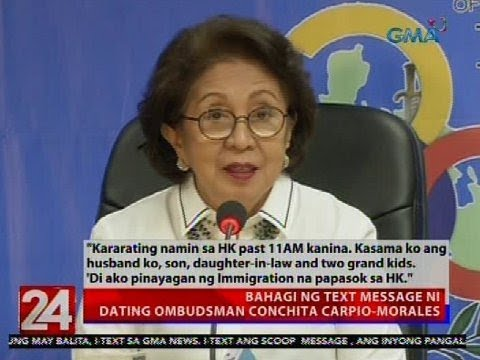 24 Oras: Dating Ombudsman Conchita Carpio-Morales, binawalan ng Hong Kong immigration...