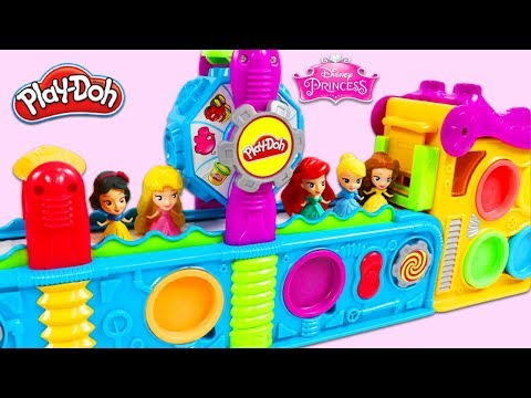 Disney Princesses Get Birthday Surprise Toys from Magic Play Doh Mega Fun Factory Playset!